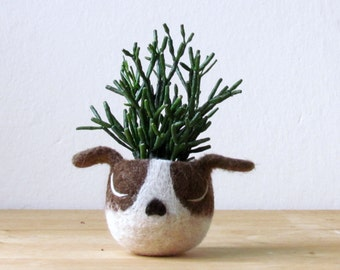 Dog lover gift |  Boston terrier dog planter Gift for mom Succulent planter pot Mothers day Birthday gift for her Cactus planter gifts