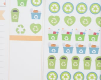 Recycle Icons Planner Stickers (NF142) High Gloss, Semi-Gloss, Matte Planner Stickers