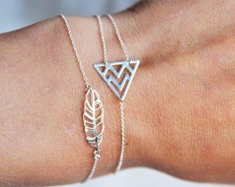 Triangle bracelet herringbone Sterling Silver 925, gift idea, fine, asymmetrical, minimalist jewelry, ethnic chic by Myo