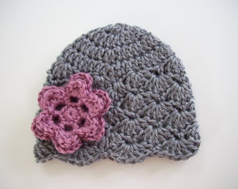 Crochet Baby Hat, Baby Girl Hat, Girl Toddler Hat, Newborn Beanie, Baby Newborn Hat, Baby Girl Beanie, Grey Hat, Baby Girl, Newborn Baby Hat
