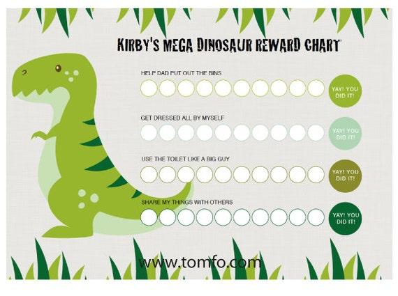 Personalised Dinosaur Chore Chart Instant Download Reward
