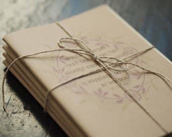 Small Useful Books-set of 4 card size notebooks, recycled, handmade, gratitude quotations