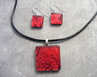 Red Dichroic Square Pendant & Earring Set