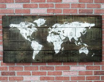 Wooden World Map Art World Map Wall Art Rustic World Map World Map Print Large World Map Wood World Map Office Decor Rustic Decor Wall Art
