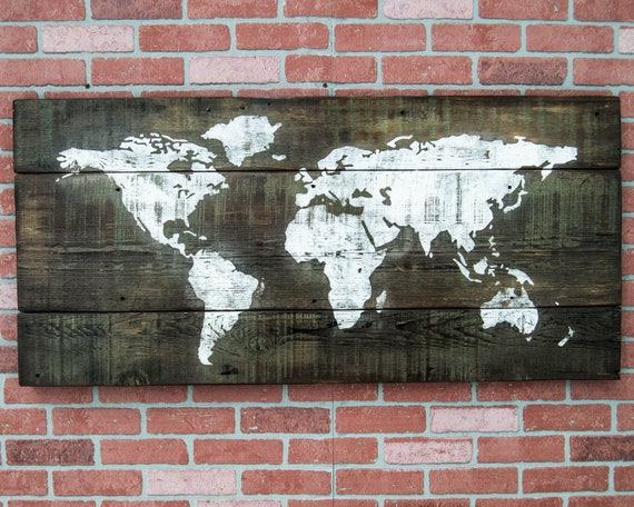 Wooden world map art world map wall art rustic world map world like this item gumiabroncs Image collections