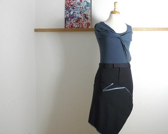 Size XL - Suit Drape Skirt in Black & Blue - Upcycled - (39.5inch)