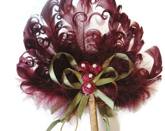 1920's Flapper Curled Ostrich Feather Silk Ribbon Work Wand Fan