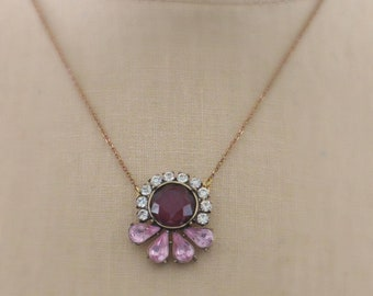 Vintage Inspired Necklace - Pink Necklace- Burgundy Necklace - Crystal Necklace - Brass Necklace - Boho Necklace - Pendant Necklace