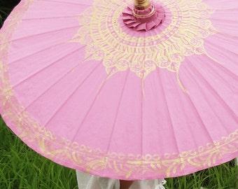 Hand Painted Pink Waterproof Parasol, Pink Umbrella, Pink Parasol, Umbrella, Parasol, Wedding Parasol, Waterproof Parasol, Parasol Umbrella