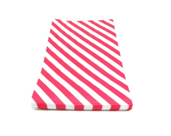 Red and White Favor Bags, Red Stripe Gift Bags, 6.25 x 9.25, Set of 20