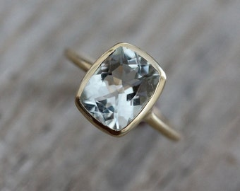 Cushion Aquamarine Ring, Yellow Gold Engagement Ring, March Birthstone Ring for Her, Aquamarine Rose Gold Jewelry, Eco Gold Bezel Ring