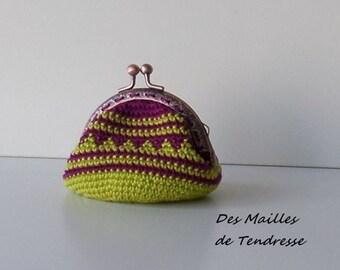 Handmade crochet coin purse, wallet green and Burgundy