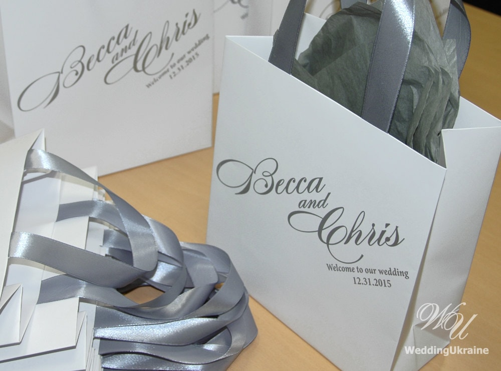 Wedding welcome bags with silver satin ribbon and names zoom junglespirit Image collections