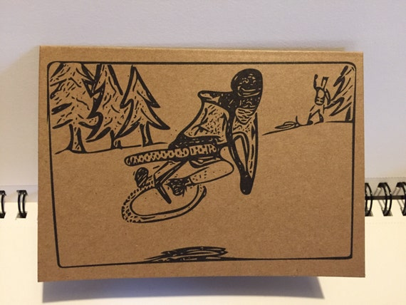 mtb buddies blank greeting card for birthday good luck