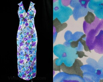 Size 8 Sailor Style Sun Dress - Beachy Blue & Purple 1970s Sun Dress - Summer Resort Chic - Sailor Collar - Maxi Length - Bust 35.5 - 44851