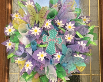 FAITH Spring Mesh Wreath in bright pastels!