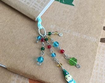 Gnome Bookmark Blue Beaded Book Thong Spring Garden Gnome Fantasy Reading
