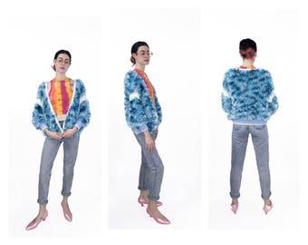 80's Handknit Blue Fuzzy Cardigan Sweater