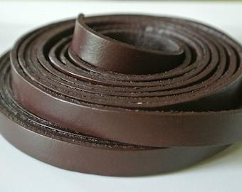 Flat brown leather cord 50 cm 10 x 2.5 mm (Li)