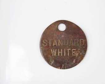 Antique Standard White Medal . Rustic Round Medal . Industrial Tag