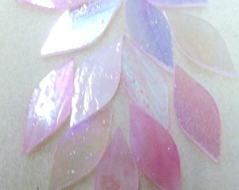 Rosebud Pink Iridized Handcut Glass Petals for Mosaics or stained glass, 12 pieces