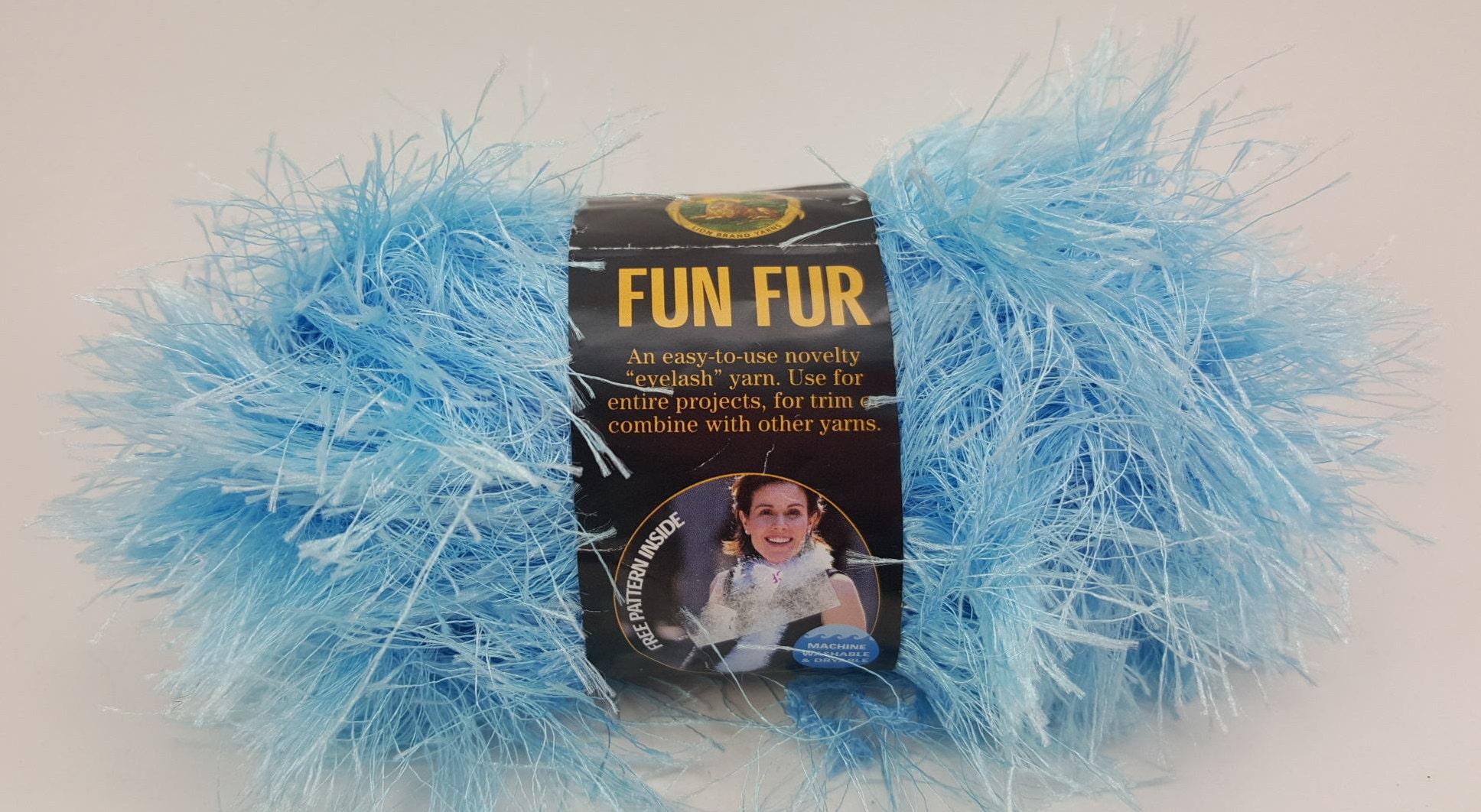 Fun Fur Yarn, Eyelash Yarn, Lion Brand Yarn, Light Blue Yarn, Blue ...