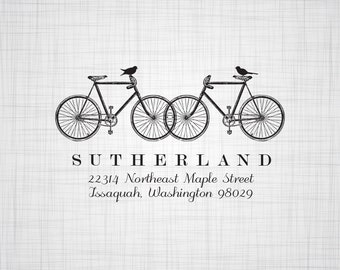 Bicycles & Birds Personalized Address Stamp, Wedding Return Address Stamp, Custom Address Stamp, Self Inking Stamp, Rubber Stamper