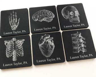 Custom Name Medical Graduation Coaster set anatomy gift school white coat ceremony nurse practitioner physician assistant goth decor drink