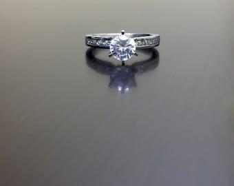 Platinum Solitaire Diamond Engagement Ring - Diamond Platinum Wedding Ring - Platinum Diamond Ring - Platinum Mounting - Platinum Ring