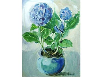 Blue Hydrangeas Card/Print Oil Painting