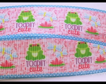 """Toadily Cute Frog Toad and Dragonflies Pink Blue Printed Grosgrain Ribbon 7/8"""" Wide Scrapbooking HairBows Parties DIY Projects az182"""