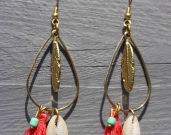 Gold dangle earrings, shell and coral tassel