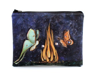 Moth Mallows -  Zipper Pouch - Luna and Polyphemus Moth Roasting Marshmallows on Fire - Art by Marcia Furman