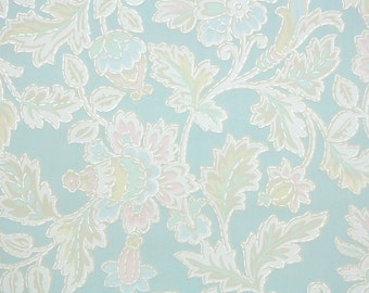 1930s Vintage Wallpaper by the Yard - Floral Wallpaper with Pastel Blue and Pink Flowers on Blue