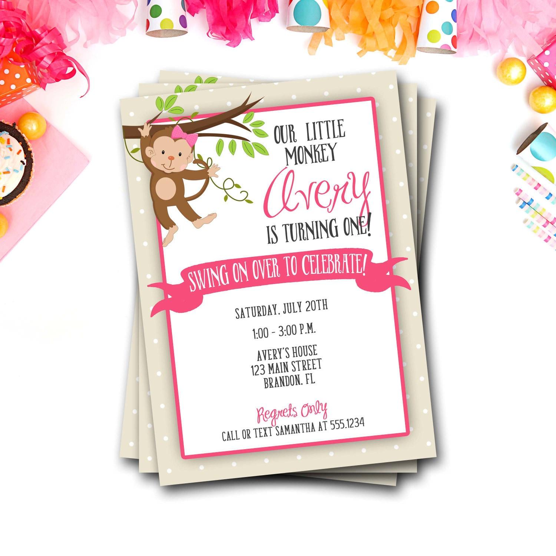 Monkey Birthday Invitation, Monkey Girl Birthday, Swinging Monkey ...