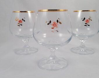 Brandy/Liqueur/Wine Glasses Set of 3, Pink Floral and Gold Leaf Motif, Gold Gilt Rim, Vintage 1980s