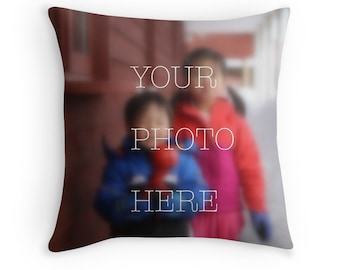 Personalized custom photo throw pillow cushion cover gift, Birthday Mother's Day Father's Day graduation wedding newborn grandparents gift