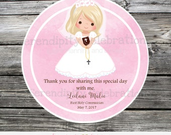 First Holy Communion Favor Tags or Stickers, Baptism, Confirmation, Religious, Thank You Tag, Pink Watercolor Communion Tags, Cross, Bible