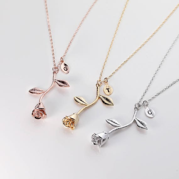 Rose necklace with initial rose pendant necklace mothers day like this item mozeypictures Gallery