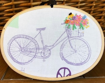 Bicycle flower basket hand-embroidered wall hanging