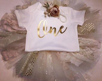 Foil Gold and lace ONE tutu outfit flower headband =gorgeous