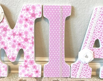 Custom Nursery Letters - Baby Girl Nursery Decor- Wooden Letters- Personalized- wall hanging-The Rugged Pearl