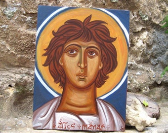 A Child saint- St Mammes of Caesaria hand painted  byzantine icon sacred art Greece contemporary art and christian home decoration ancient