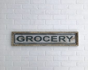 """GROCERY SIGN   7"""" x 33.25""""   framed wood sign   hand made   hand painted   farmhouse decor   farmhouse sign   kitchen sign"""