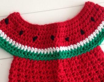 Newborn watermelon crochet dress