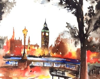 London at Dusk Watercolor Painting - London Sunset Travel Illustration - Fine Art Print - Lana Moes Art - Wanderlust Illustration