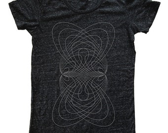 Elliptical Womens Triblend Tshirt - Soft Luxury Graphic T Shirt - Womens Tri Blend Dark Gray Made in the USA - Screen Printed Sizes S M L XL