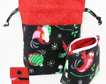 "Knitting Project Bag - New! ""Christmas Birds"" 2 Piece Set Knitting Project Bag (V)"
