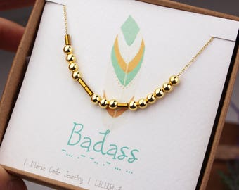 Best friend gift, Morse code necklace, sister birthday gift, badass necklace, custom Morse code, best friend necklace, gold, sterling silver