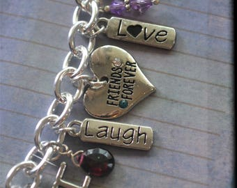 Charm Bracelet, Custom Bracelet, BFF, Best Friend Bracelet, Friends Forever, Dream, Love, Laugh, Family, Birthday Gift, 50th, 55th Birthday